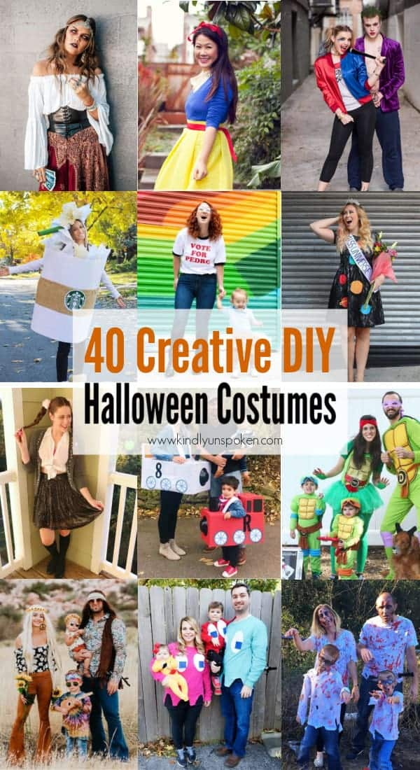 Looking for cute, cheap, and easy Halloween costumes or unique last-minute, DIY Halloween costume ideas? Check out these 40 Creative Halloween Costume Ideas for women, moms, cute couples, small and large families, and best friends! You're sure to win the best Halloween costumes with these picks. #halloween #halloweencostumes #halloweencostumeideas #easycostumes