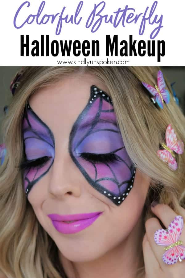 This purple and black butterfly makeup look for Halloween is colorful, fun, and the perfect girly Halloween costume idea! Follow my easy butterfly Halloween makeup tutorial to get the look of this butterfly eye makeup! #butterflymakeup #halloweenmakeup #halloweentutorial