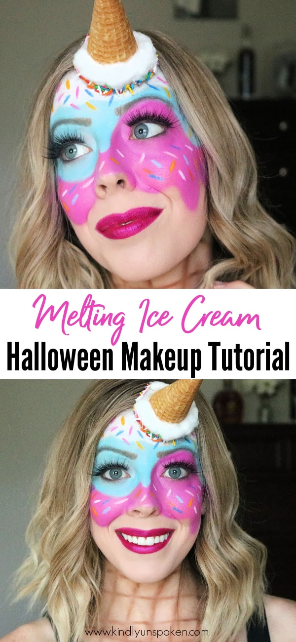 Want a fun and creative Halloween makeup look? Check out my cute and easy melting ice cream makeup Halloween tutorial featuring melted ice cream from bright and colorful face paint, sprinkles, and an easy DIY ice cream cone! #halloweenmakeup #halloweencostumeideas #halloweentutorial #makeuptutorial #icecreammakeup