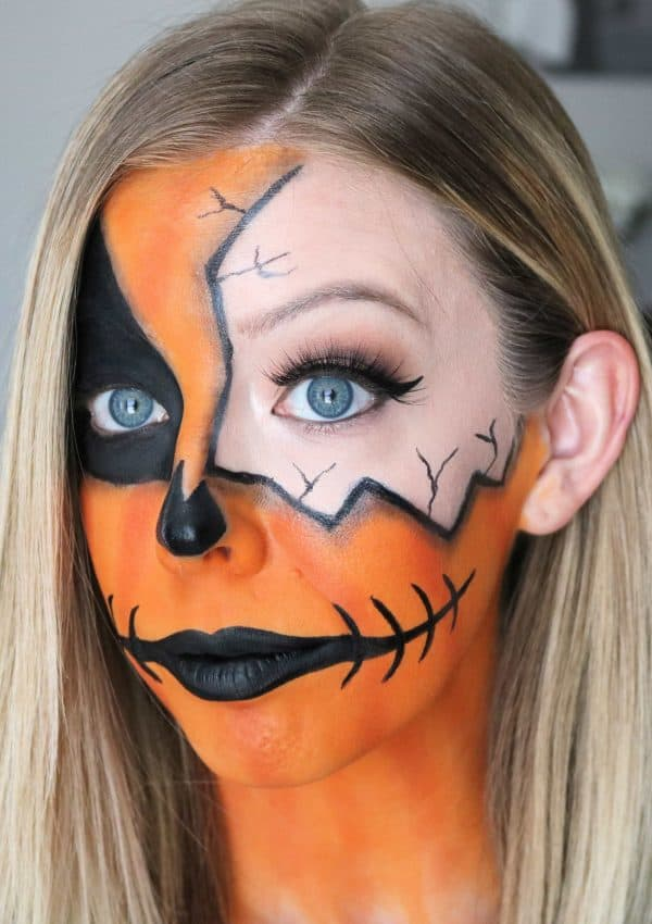 Cracked Pumpkin Makeup Halloween Tutorial