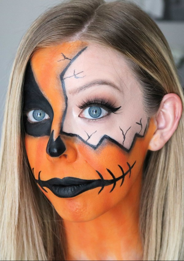 Easy Cracked Pumpkin Makeup Halloween Tutorial
