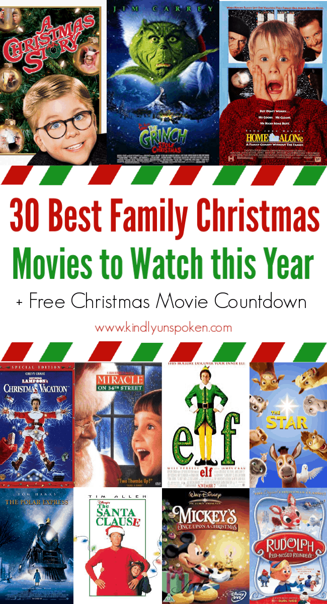 Looking for Christmas movies to watch? Create your own Christmas movie countdown with the 30 Best Family Christmas Movies full of classic Christmas movies and Christmas favorites that both kids and adults will love! #christmasmovies #christmas #christmascountdown
