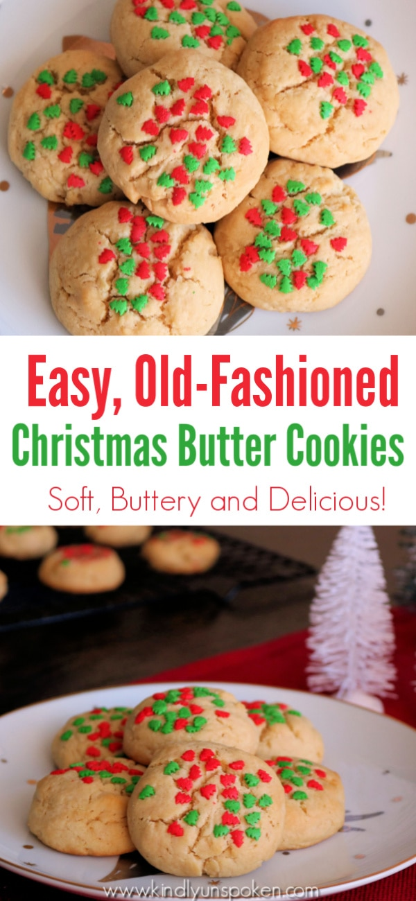 The whole family will love these soft, buttery, and delicious Christmas butter cookies! Dip them in Christmas sprinkles or sugar to make them extra pretty! #buttercookies #christmascookies #baking #dessert #cookierecipe