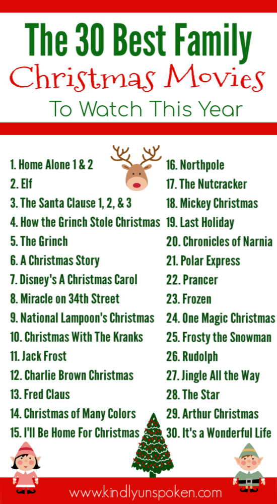 Looking for Christmas movies to watch? Create your own Christmas movie countdown with the 30 Best Family Christmas Movies full of classic Christmas movies and Christmas favorites that both kids and adults will love! #christmasmovies #christmas #christmascountdown #christmasprintable