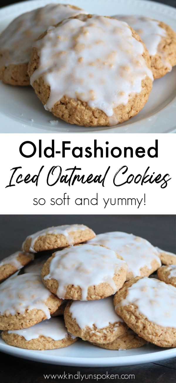 These Iced Oatmeal Cookies really are the best oatmeal cookies! They're soft, chewy, packed with an incredible flavor combo of cinnamon, nutmeg, and brown sugar, and topped with a sweet icing glaze that you can't resist! #cookies #icedoatmealcookies #oatmealcookies #baking