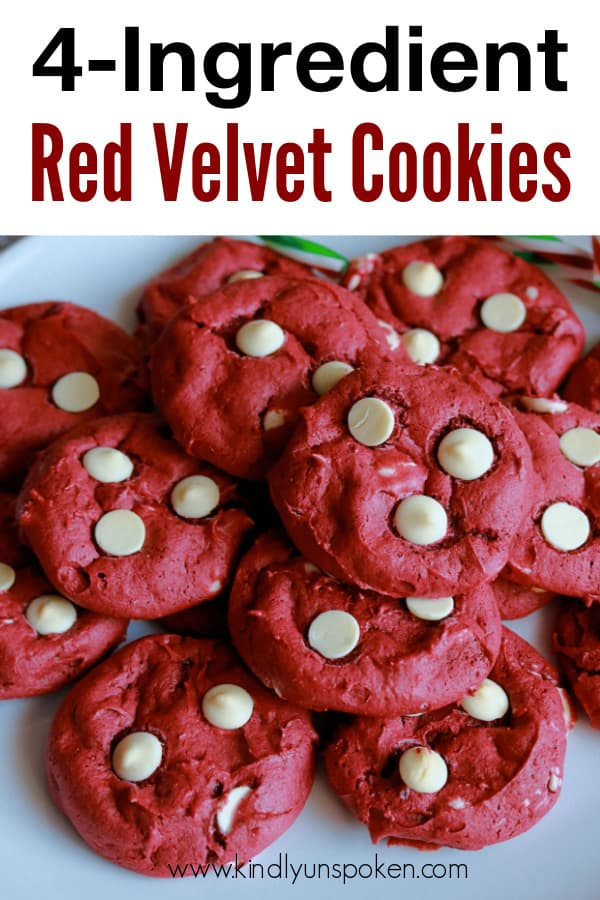 With just 4 ingredients, these soft, chewy, and delicious Red Velvet Cake Mix Cookies are so easy to make. These red velvet cookies are made from a boxed red velvet cake mix and with white chocolate chips are the perfect choice for Christmas, Valentine's Day, or anytime you're craving red velvet cake! #christmascookies #redvelvetcookies #cookies #cakemixcookies