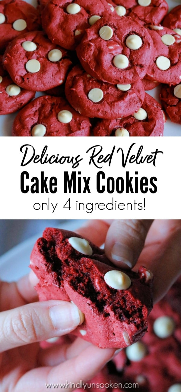 With just 4 ingredients, these soft, chewy, and delicious Red Velvet Cake Mix Cookies are so easy to make. Grab a box of red velvet cake mix and make these for Christmas, Valentine's, or whenever you're craving red velvet! #christmascookies #redvelvet #cookies #christmasbaking #cakemixcookies
