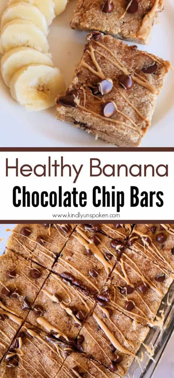 Looking for a yummy and healthy banana recipe? Try my healthy banana bars made with bananas, coconut flour, cashew butter, applesauce, and dark chocolate chips. These banana chocolate chip bars are super delicious and take less than 30 minutes to make! #bananabars #bananarecipe #paleo #glutenfree #healthybreakfast #healthydessert