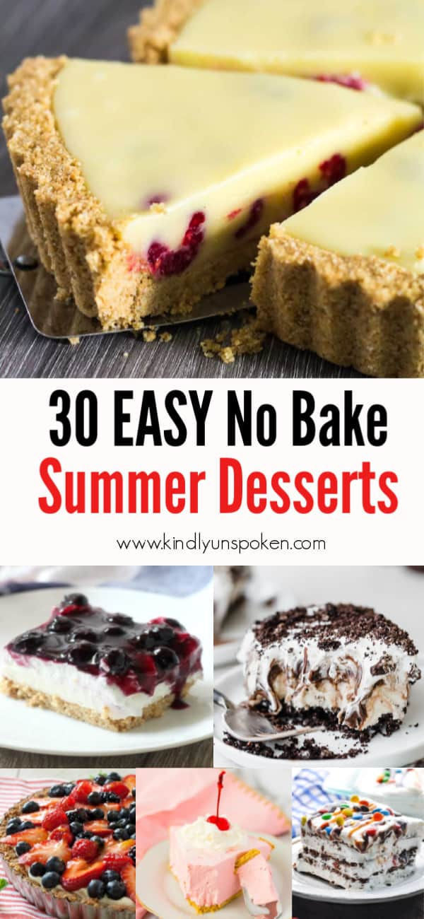 Stay cool this summer with these 30 Delicious and Easy No Bake Summer Desserts with delicious cake, cheesecake, puddings, fruit, graham crackers, cream pies, chocolate, and more! These cold, refreshing, no bake summer desserts are perfect for making for a crowd for a party, and all your family, friends, and kids will love these yummy no bake desserts! #nobake #desserts #summerdesserts