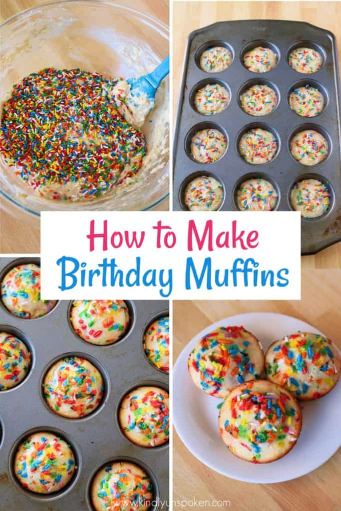 These delicious and easy sprinkle birthday cake muffins are the perfect birthday breakfast treat or dessert for your next birthday! Kids and adults will love the colorful rainbow party sprinkles and vanilla-lemon birthday cake flavor. Bake them in 15 minutes or less. #birthdaymuffins #birthdaycakemuffins #birthdaycake #sprinkles #funfetti #breakfast
