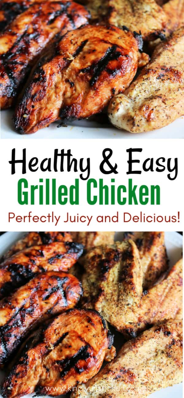 If you want the BEST grilled chicken breast recipe that's juicy, tender, and flavorful, then look no further! Today I'm sharing my easy and healthy grilled chicken breast recipes with 2 simple marinades and seasonings you'll love! Pair with whole grain rice or a salad for a healthy, protein-packed lunch or dinner. #grilledchicken #chickenrecipe #healthyrecipe #marinade