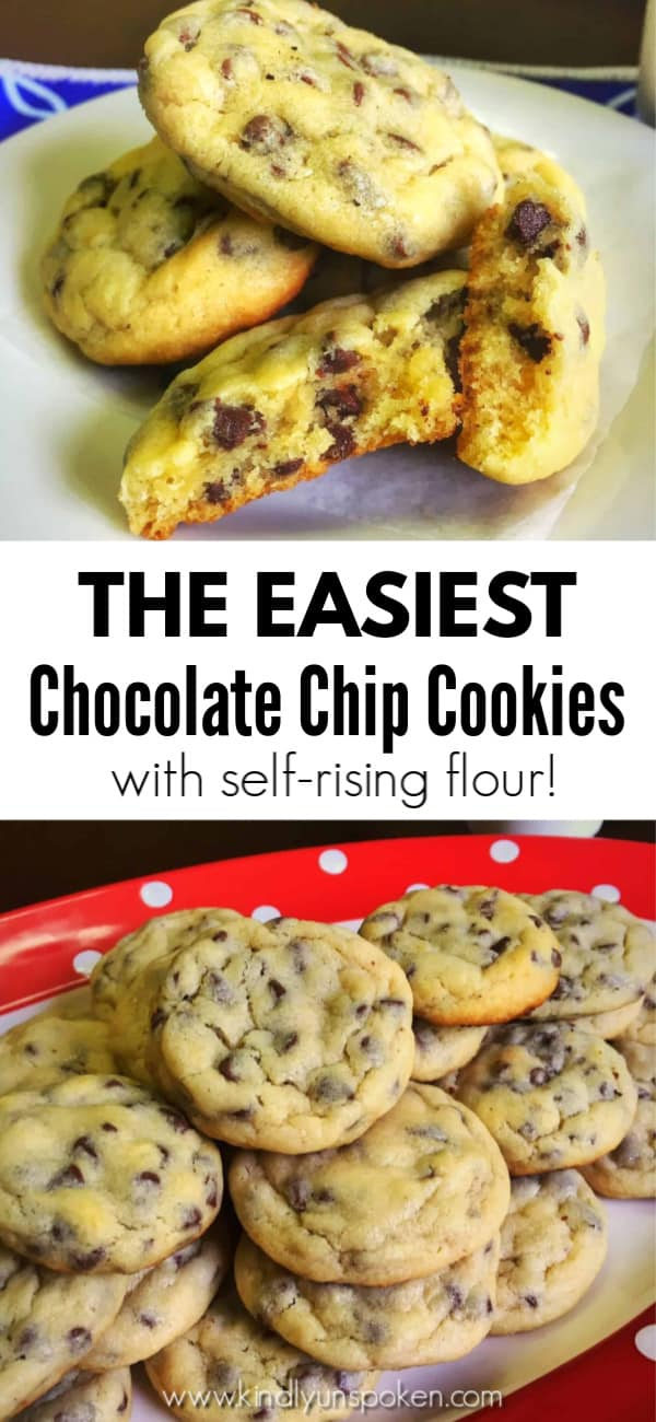 Searching for THE BEST, easy chocolate chip cookie recipe to make for your family? Try my Mom's Famous Easy Chocolate Chip Cookies for incredibly soft, gooey, and delicious chocolate chip cookies! These homemade chocolate chip cookies are made with self-rising flour and are SO EASY to make.  #cookies #chocolatechipcookies #easycookies #cookierecipe