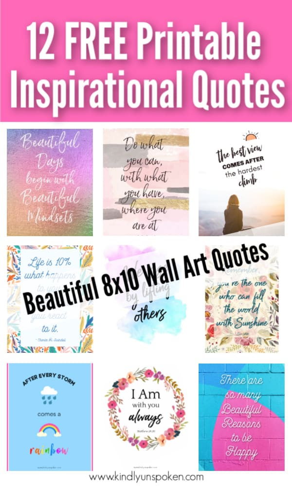 Check out my 12 Gorgeous and Girly Free Printable Quotes with Inspirational Quotes for Hard Times. These motivational quotes will provide words of encouragement and inspiration to stay positive even when things are tough. Print and frame these free 8x10 printables for your home, office, or wallpaper. #inspirationalquotes #motivationalquotes #printables #printablequotes
