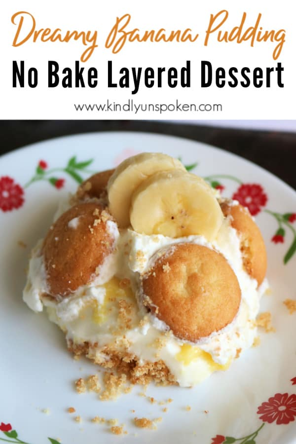 This Dreamy Layered Banana Pudding Dessert is a delicious and easy no-bake dessert! Sliced bananas, instant vanilla pudding, homemade whipped cream, and a luscious sweet cream cheese mixture are layered on top of a buttery vanilla wafer crust for the best banana pudding dessert you'll ever eat! #bananapudding #layereddessert #nobakedessert #bananapuddinglasagna