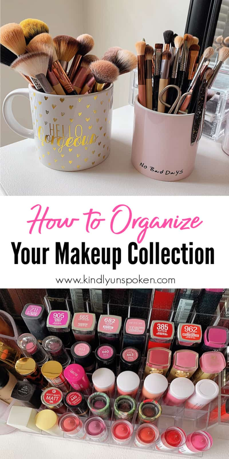 Learn how to organize makeup on your vanity, in your bathroom drawer, or in small spaces with the best makeup storage ideas and makeup organizers. These helpful organizational tips and makeup storage solutions will help keep all your makeup, beauty, and skincare products nice and organized. #makeuporganizer #organizationaltips #makeupstorage #makeuptips