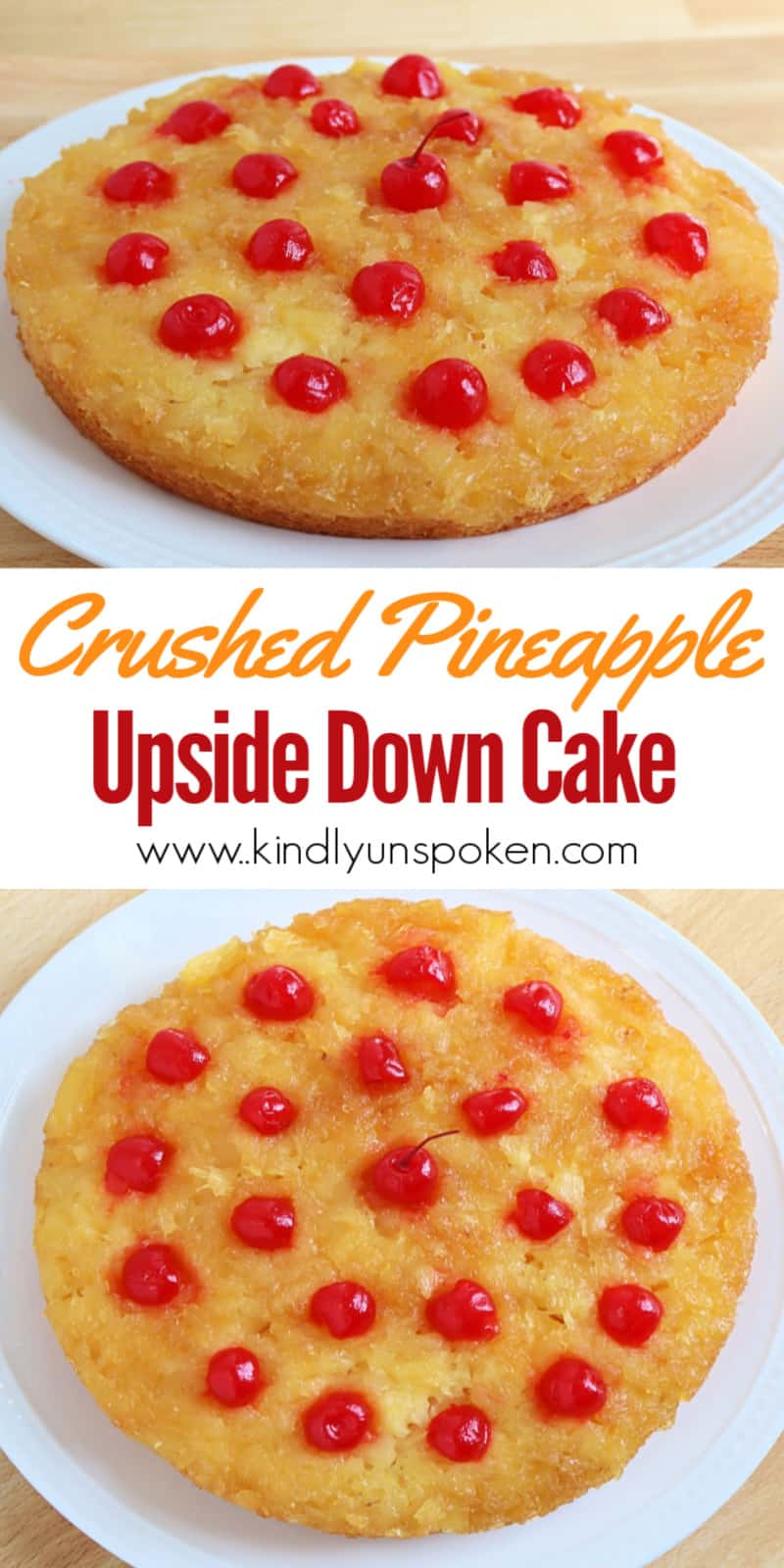 Try my easy and quick pineapple upside down cake for a delicious twist on a classic cake! My crushed pineapple upside down cake is made in two round cake pans with a box yellow cake mix and features a brown sugar glaze with double the pineapple. You'll want to make this simple pineapple cake ASAP! #pineappleupsidedowncake #pineapplecake #cakemix #cakerecipe