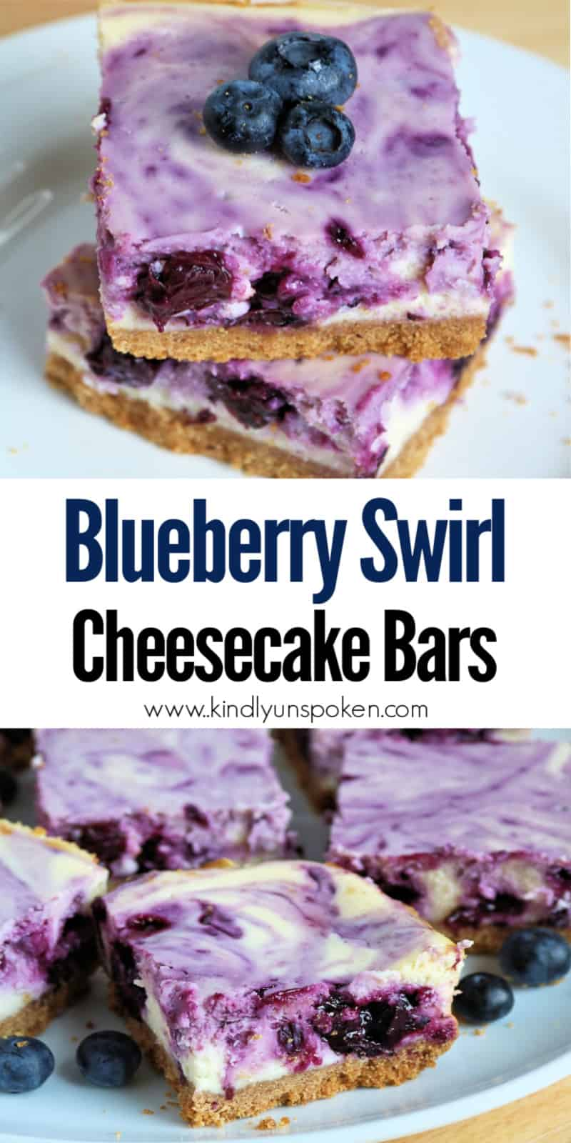 These easy and delicious Blueberry Swirl Cheesecake Bars are the best blueberry cheesecake bars you'll ever eat! Creamy vanilla and lemon cheesecake bars made with cream cheeses are swirled with a fresh blueberry lemon sauce and a buttery graham cracker crust. #blueberrycheesecakebars #blueberrycheesecake #blueberrybars #cheesecakebars #dessertbars  #blueberrydessert