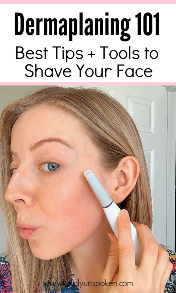 Curious about the skincare benefits of dermaplaning (aka shaving your face)? Check out the 5 Benefits of Dermaplaning At Home with tips on how to safely remove peach fuzz and achieve smoother, brighter skin! I'm also sharing the best affordable dermaplaning tools and a before and after with results! #dermaplaning #skincaretips #beautytips