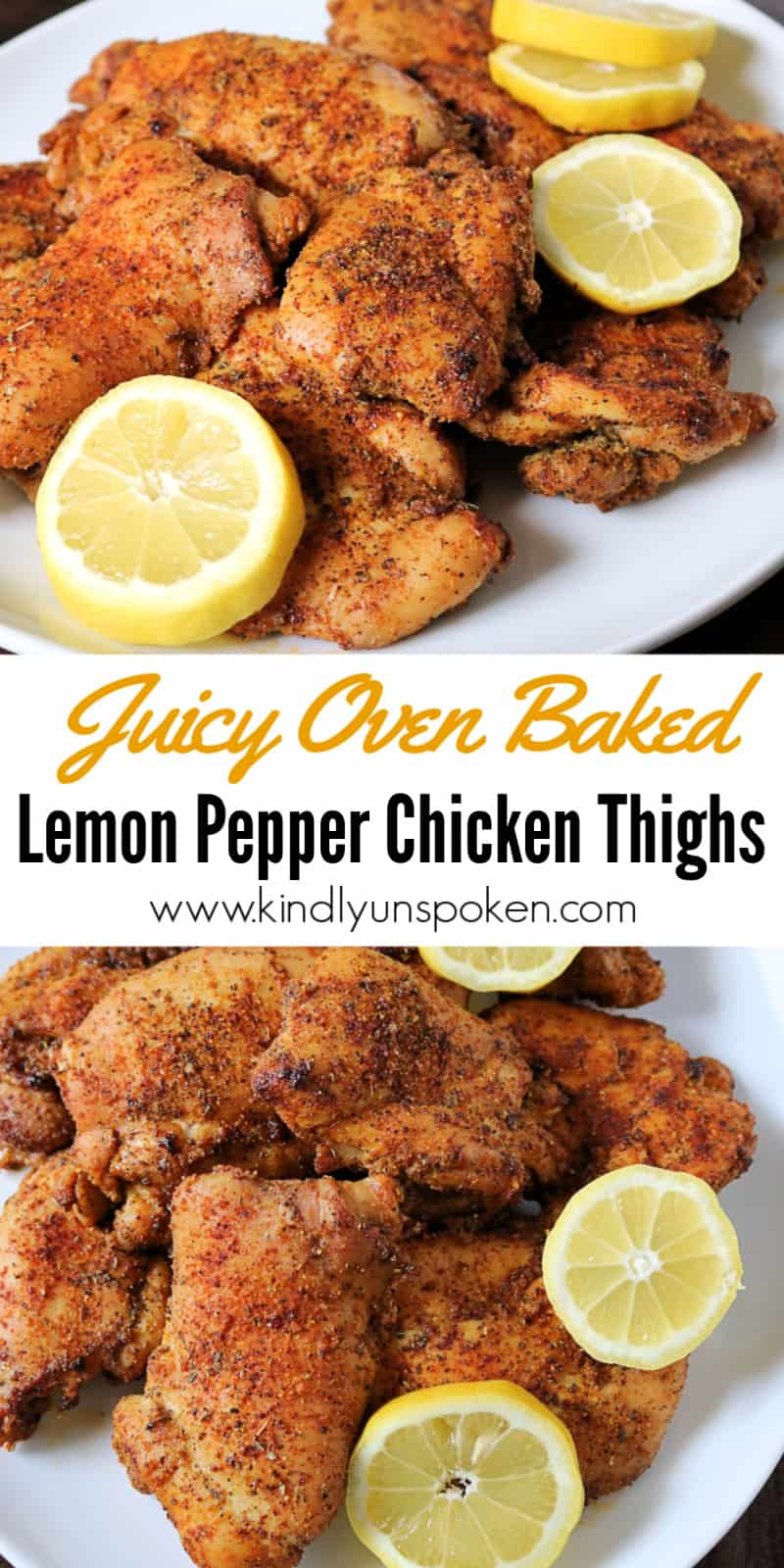 These oven baked lemon pepper chicken thighs are tender, juicy, and delicious! Boneless skinless chicken thighs are seasoned to perfection with a blend of lemon, pepper, garlic, and smoky seasonings, and pair great with rice and veggies, or a salad for a healthy and easy dinner. #lemonpepperchicken #ovenchicken #bakedchicken #chickenthighs #chicken