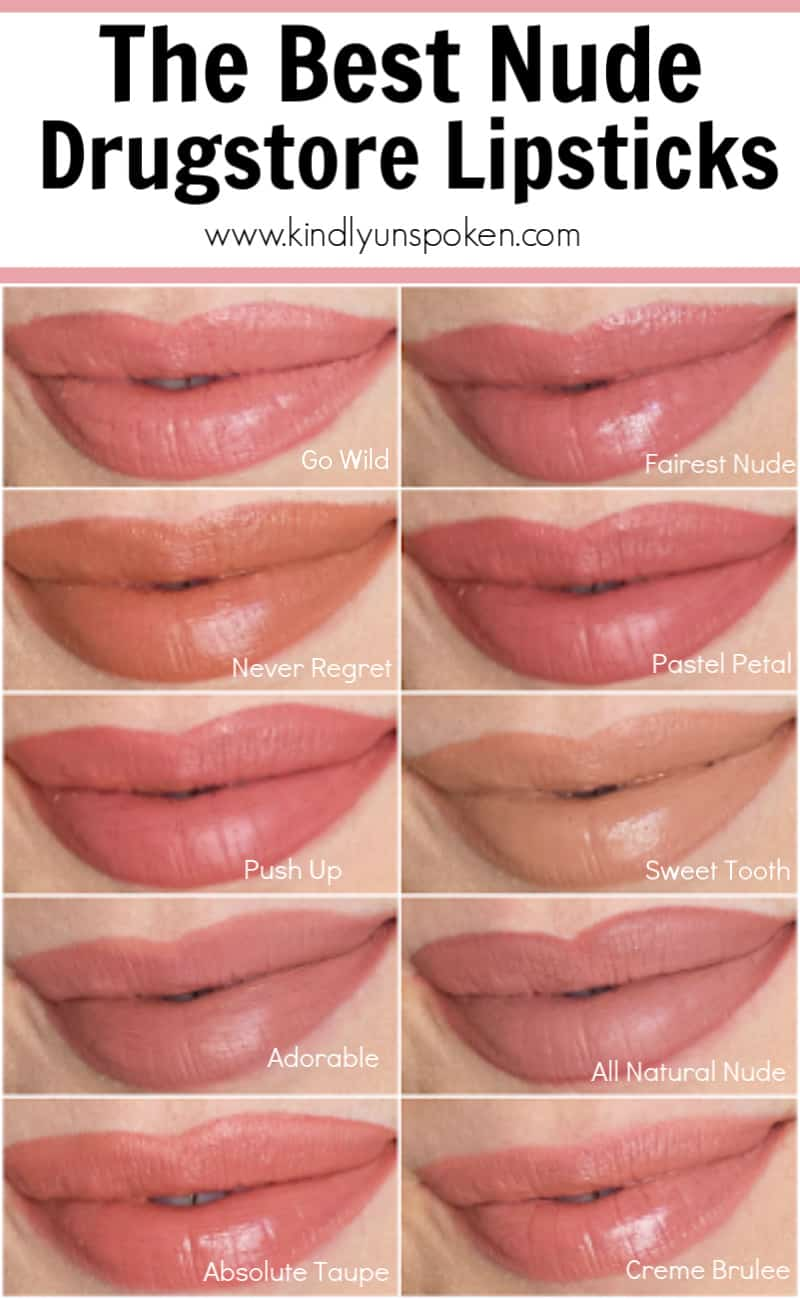 Looking for the best nude drugstore lipsticks? Look no further! Check out my roundup of the best natural-looking nude lipsticks with beautiful, affordable, long-lasting matte nude lipsticks that work for fair, light, and medium skin tones. #drugstoremakeup #drugstorelipstick #nudelipstick #bestdrugstoremakeup