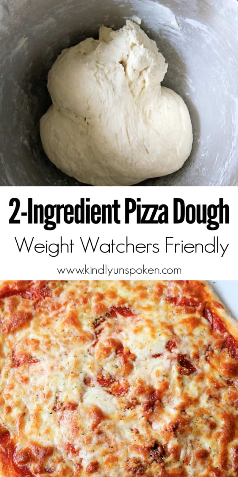 This 2-Ingredient Pizza Dough, also known as Weight Watchers Pizza Dough, is delicious and SO easy to make! It's made with self-rising flour and plain, non-fat Greek yogurt, with no yeast or rising time required. Use it for pizza dough, cheese sticks, pretzel bites, and more! #pizzadough #pizza #weighwatchers #greekyogurtpizzadough #selfrisingdough