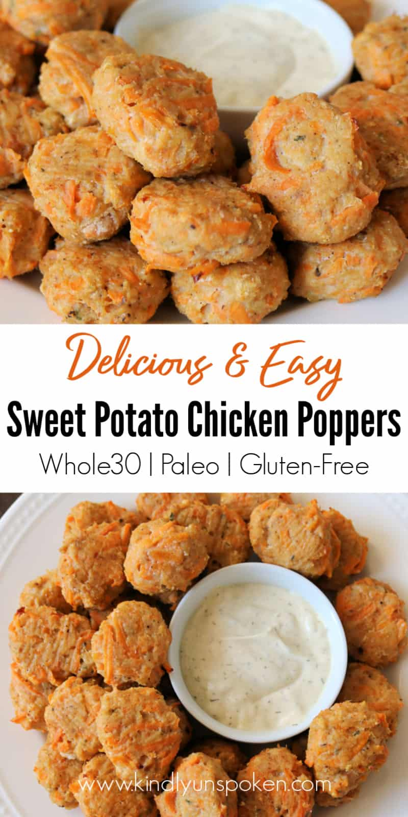 These Delicious Whole30 Sweet Potato Chicken Poppers are a healthy alternative to chicken nuggets and perfect for easy meal prepping! These easy chicken poppers are made with simple ingredients, take less than 30 minutes to make, freezer-friendly, and are gluten-free, Whole30, and Paleo approved. #chickenpoppers #chickenrecipes #whole30 #whole30chickenrecipes #paleo #glutenfree #healthyrecipes