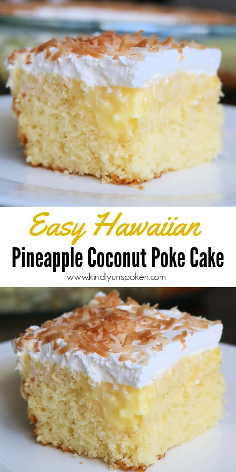 Try my Easy Hawaiian Pineapple Coconut Poke Cake for a delicious, tropical dessert! All you need is a boxed cake mix, crushed pineapple, coconut cream and vanilla pudding, whipped topping, and toasted shredded coconut. This easy poke cake is perfect for potlucks and parties! #pokecake #hawaiianpokecake #pineapplepokecake #coconutpokecake #cake