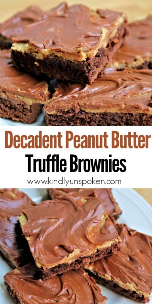 Make these Decadent Peanut Butter Truffle Brownies to satisfy your peanut butter and chocolate craving! These easy peanut butter brownies start with your favorite fudge brownie box mix and are topped with delicious swirled layers of peanut butter truffle filling and a milk chocolate ganache. These fudge brownies taste like a peanut butter cup and are perfect for parties! #brownies #peanutbutter #buckeyebrownies #fudgebrownies #boxbrownies #peanutbutterbrownies