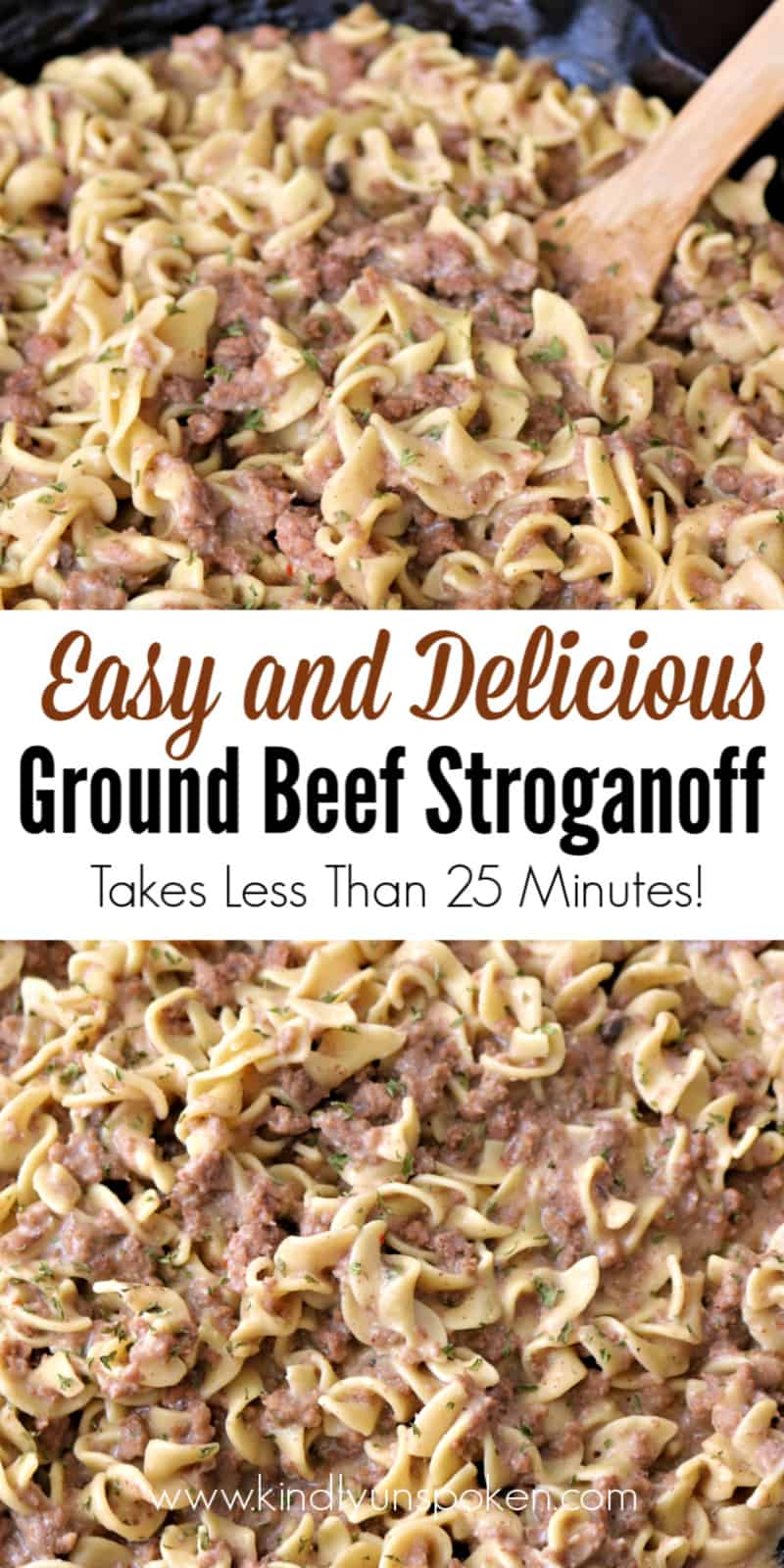 Make this Delicious, Creamy, and Easy Ground Beef Stroganoff for dinner in under 30 minutes with light sour cream, cream of mushroom soup, beef broth, lean ground beef, and egg noodles. It's so good you'll want to double the recipe! #groundbeefstroganoff #beefstroganoff #groundbeefrecipes #easydinnerrecipe