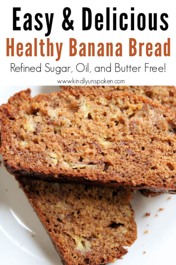 This Easy Healthy Banana Bread is made healthier with simple ingredients including ripe bananas, cinnamon, honey, Greek yogurt, applesauce, and whole wheat flour for one delicious banana bread recipe you'll love to make again and again! No one will ever guess that it's refined sugar free, oil free, and butter free. #bananabread #healthybananabread #easybananabread #healthyrecipes