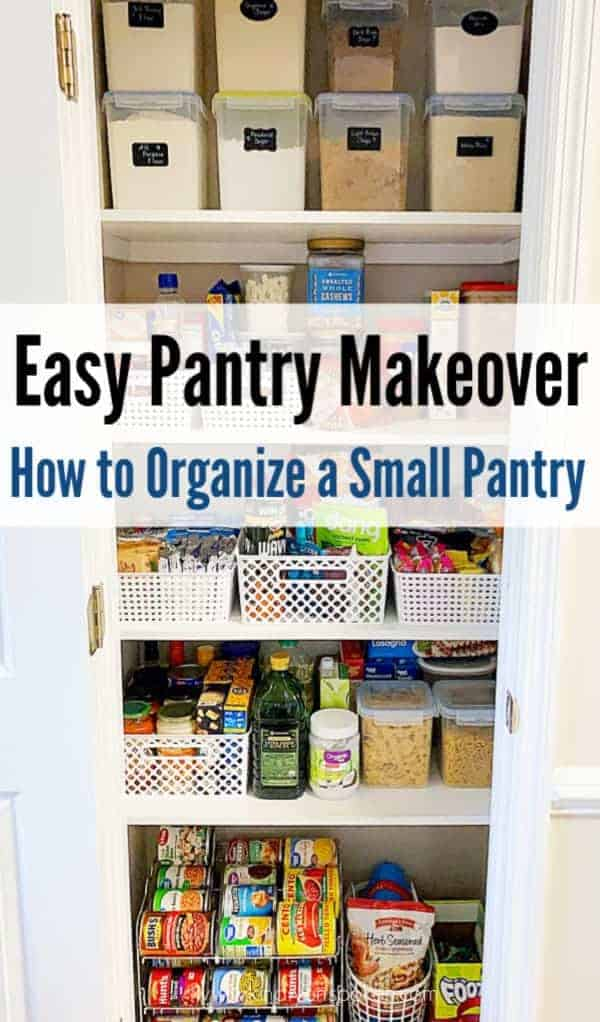 Looking for easy pantry makeover ideas? Check out my pantry closet makeover using affordable baskets, bins, containers, and organizational products from Amazon, Target, Walmart, and the Dollar Tree. Click through to see my pantry's amazing before and after transformation, and my best small pantry organization tips and tricks if you are on a budget. #pantry #pantryorganization #pantrymakeover #organization
