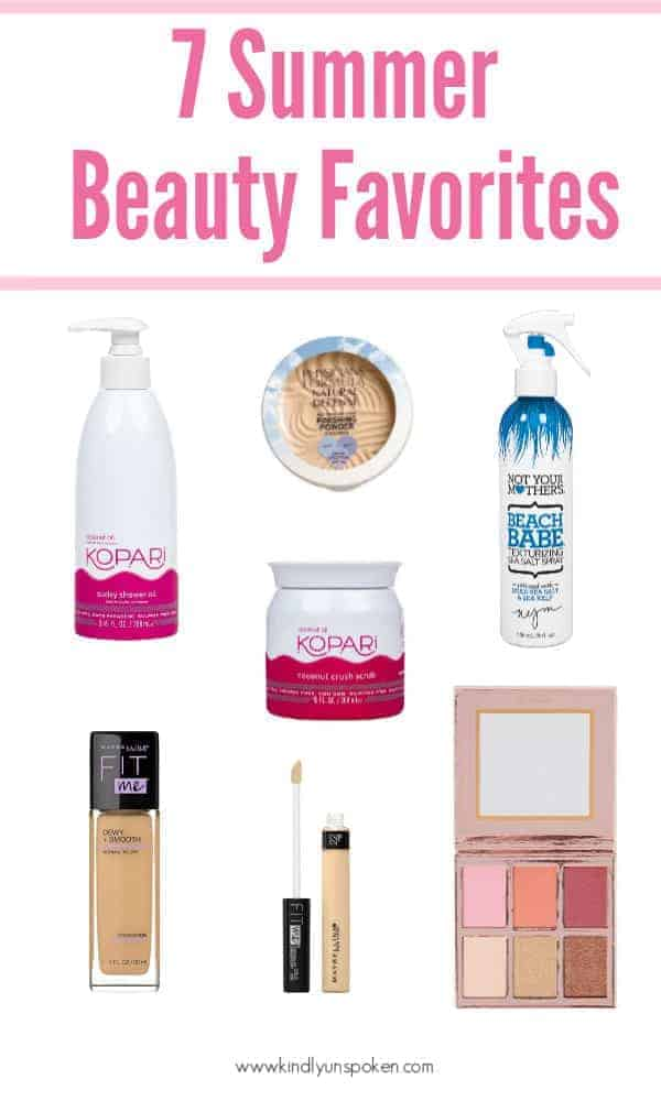 Check out my roundup of 7 Summer Beauty Favorites with new affordable summer makeup, beauty products, and hair products that I'm loving at the moment! #beauty #makeup #summermakeup #drugstoremakeup