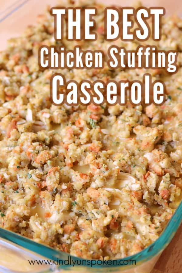 Try this Easy Chicken and Stuffing Casserole Bake that only takes 30 minutes in the oven! It's made with cream of chicken soup, milk, stove top stuffing, and seasoned shredded chicken made in the crockpot or rotisserie chicken from the store. It's the ultimate comfort dinner that's so delicious! #chickencasserole #chickenandstuffing #easydinner #chickenrecipe