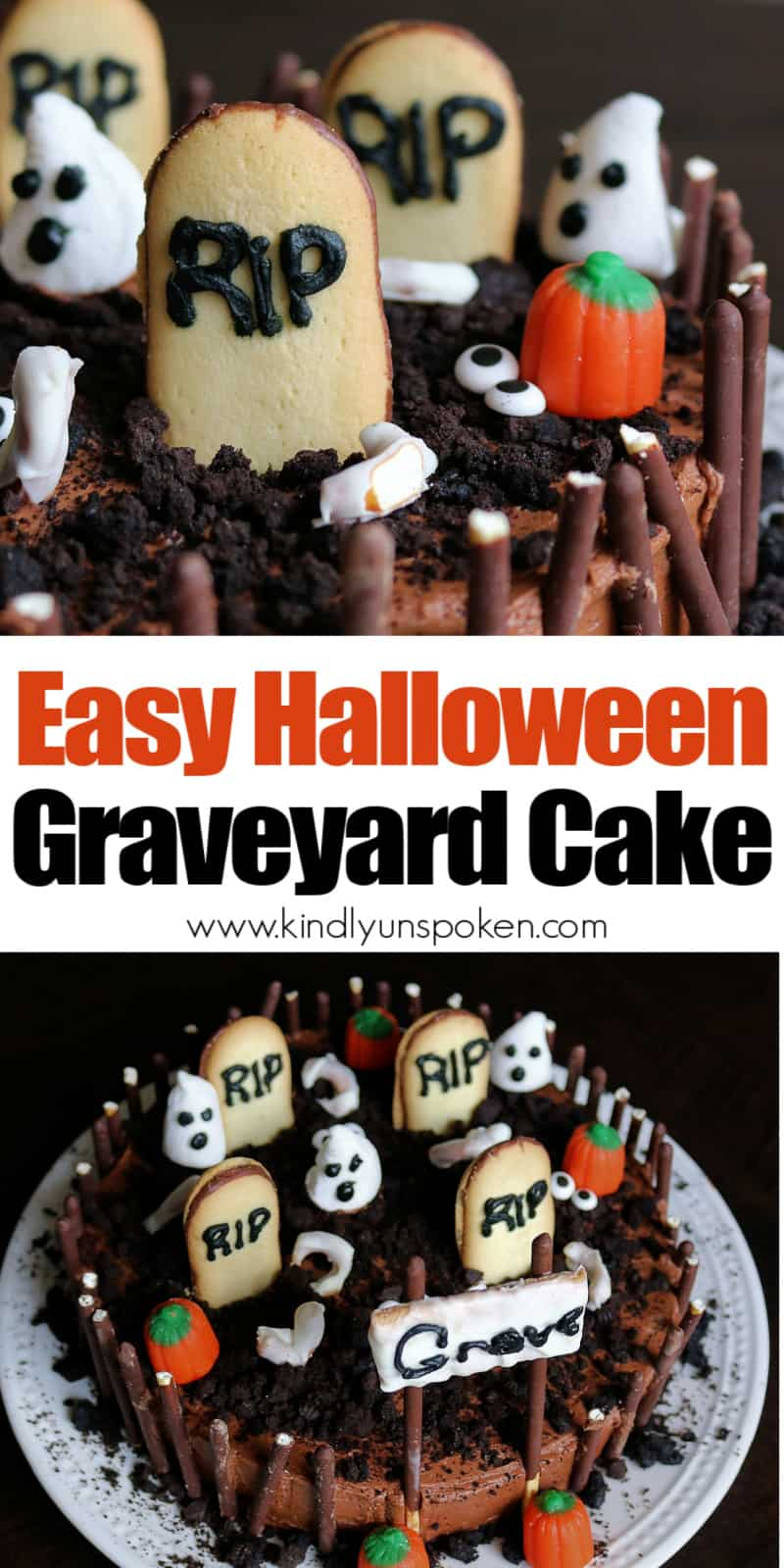Learn how to create this Easy Halloween Graveyard Cake for your next Halloween party! This Graveyard Cake is made with a boxed chocolate cake mix, delicious homemade chocolate buttercream frosting, and spooky and fun DIY cake decorations like tombstone cookies, marshmallow ghosts, Oreo dirt, pretzel bones, and a chocolate stick fence. Kids and adults will love it! #halloweencake #graveyardcake #diycake #kidscake