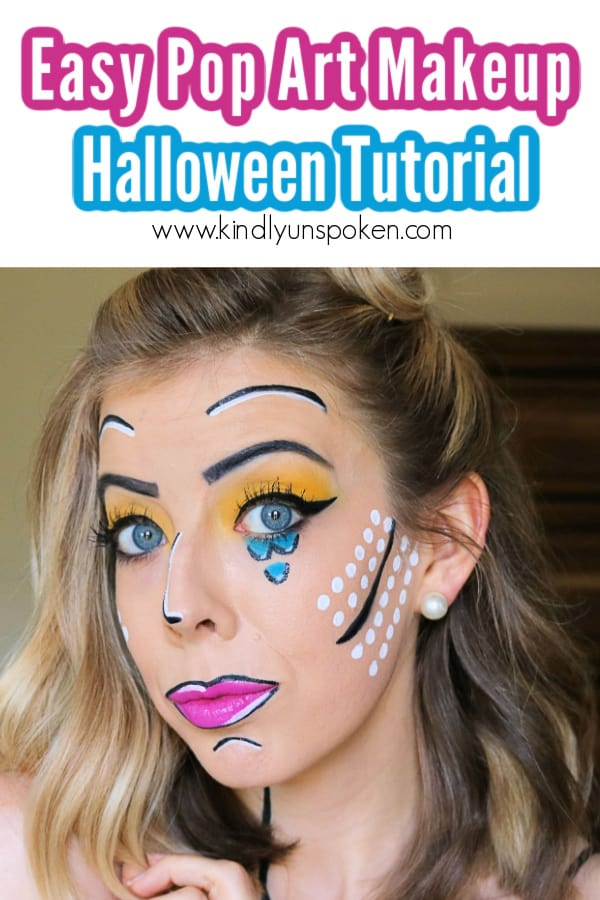 Follow my Fun and Easy Pop Art Makeup Look Tutorial for a fun, vintage Halloween costume this year! This pretty 1960s Lichtenstein inspired look will make you feel like you're a comic book or cartoon character and is super easy to DIY! #halloweenmakeup #popartmakeup #makeuptutorial