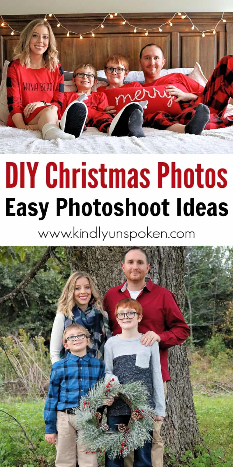 Want to take your Family Christmas Photos yourself this year? Learn how to take DIY Family Christmas Photos at home with my best tips on how to choose the location, what to wear with cute and affordable outfit ideas, and a list of fun and easy Christmas photoshoot ideas for families and kids. Plus, check out how to create a cozy matching pajamas bedroom photoshoot and outdoor photoshoot with holiday décor, outfits, and props from Bealls Outlet. #christmasphotos #christmascardphotos #bfinding #BeallsOutlet