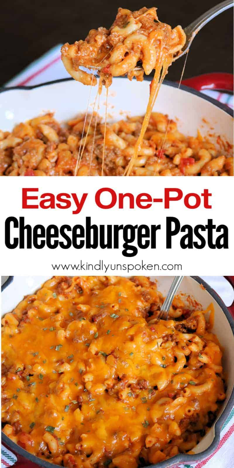 Try my Easy Cheeseburger Pasta Recipe for a delicious one pot dinner this week! This Cheeseburger Pasta is made quick and easy on the stove top with ground beef, cheddar cheese, tomato sauce, ketchup, and mustard, and tastes even better than Hamburger Helper! #cheeseburgerpasta #pastarecipe #onepotrecipe