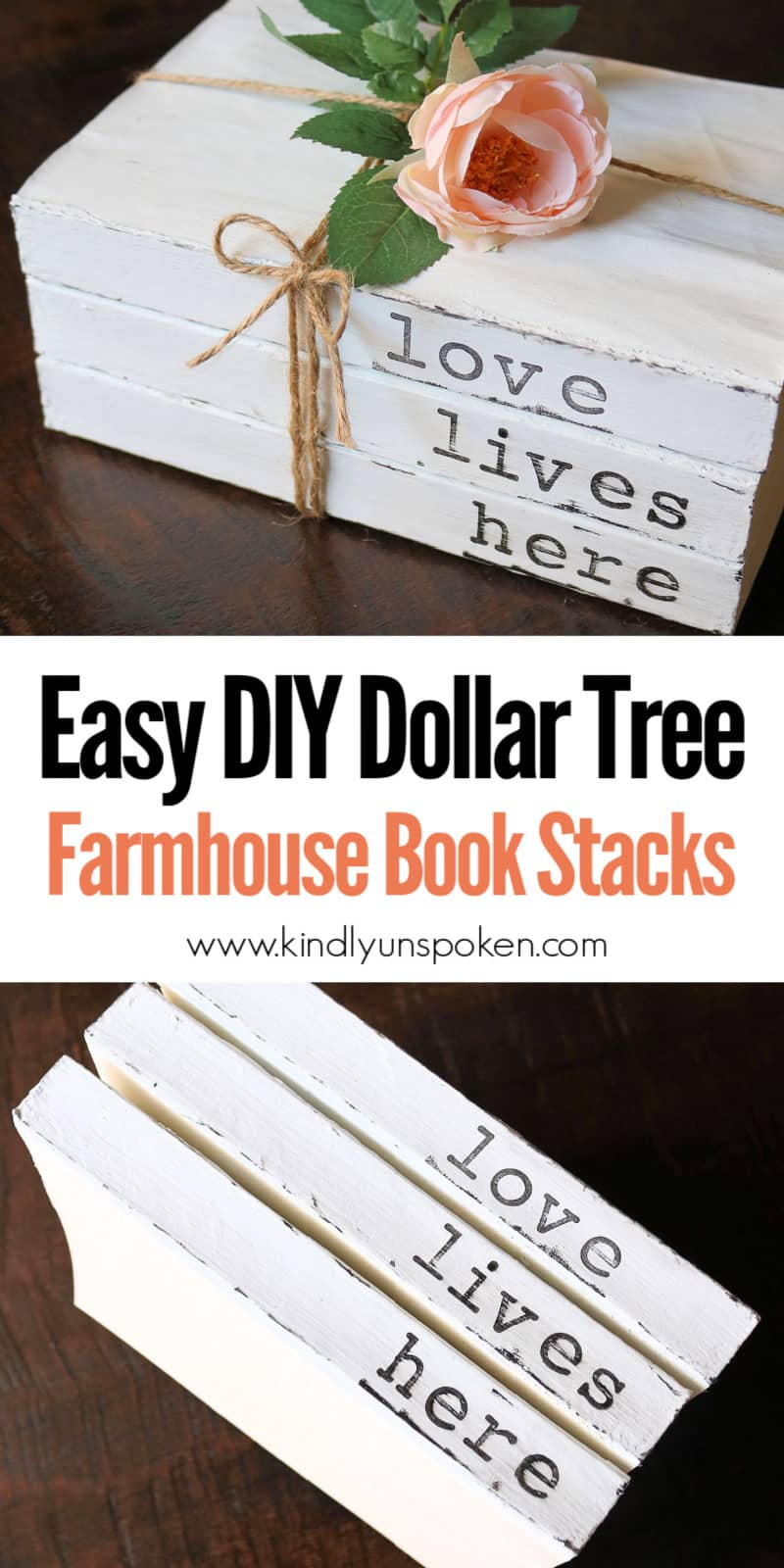 Learn how to make Easy DIY Farmhouse Stacked Hand-Stamped Books using dollar tree books, chalk paint, stamps, twine, and faux flowers. This dollar tree craft is so easy and affordable to create and you can personalize these stacked books with your family's names or favorite phrases! #stackedbooks #stampedbooks #dollartreecraft #dollartreediy #diy #personalizedbooks