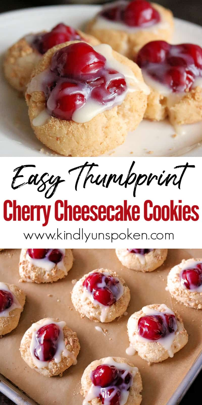 These Easy Cherry Cheesecake Cookies are delicious, buttery cheesecake cookies rolled in graham cracker crumbs, filled with cherry pie filling, and drizzled with white chocolate. These cherry thumbprint cookies are decadent, beautiful, and will be your new favorite cookie recipe to make for Christmas and the holidays! #christmascookies #cherrycookies #cookies #cookierecipe