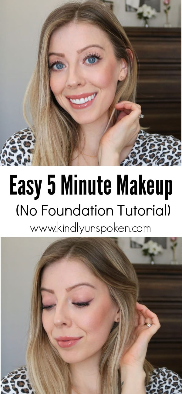 Check out my Easy 5 Minute Makeup Tutorial for a simple, pretty, and natural makeup look for everyday wear. With just a few drugstore makeup products and 5 minutes time, this no foundation makeup look will make you look well rested and put together! #5minutemakeup #easymakeup #nofoundationmakeup #drugstoremakeup #makeuptutorial