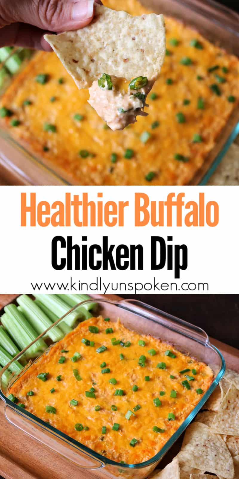 This Healthy Buffalo Chicken Dip is easy, delicious, and full of flavor! This lightened up version is made with shredded or canned chicken breast, light cream cheese, mozzarella cheese, fat free Greek yogurt, buffalo hot sauce, green onion, and topped with cheddar cheese. Make this Skinny Buffalo Chicken Dip for your next party, game day, or Super Bowl appetizer. #buffalochickendip #healthydip #healthyappetizer #superbowlappetizer #partyappetizer